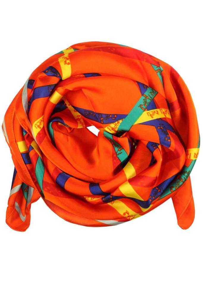 7ce1e5c1fd20 Florian hodvábny šál s potlačou oranžová